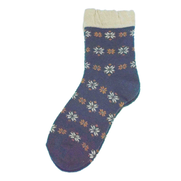Soft Knit Crew Socks | Snowflake | Teal