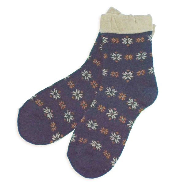 Soft Knit Crew Socks | Snowflake | Teal - CHERRYSTONE by MARKET TO JAPAN LLC