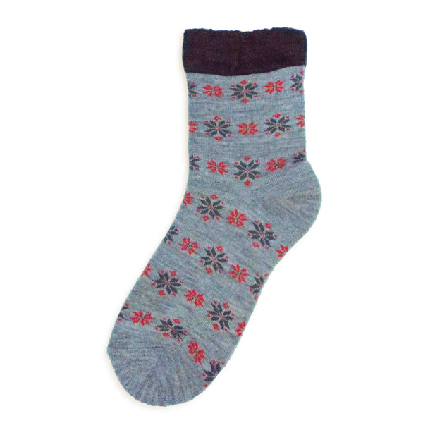 Soft Knit Crew Socks | Snowflake | Gray