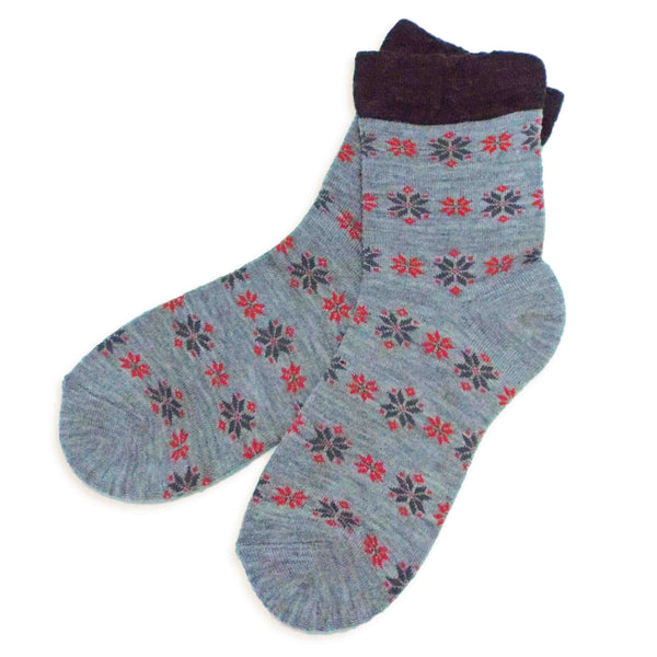 Soft Knit Crew Socks | Snowflake | Gray - CHERRYSTONE by MARKET TO JAPAN LLC