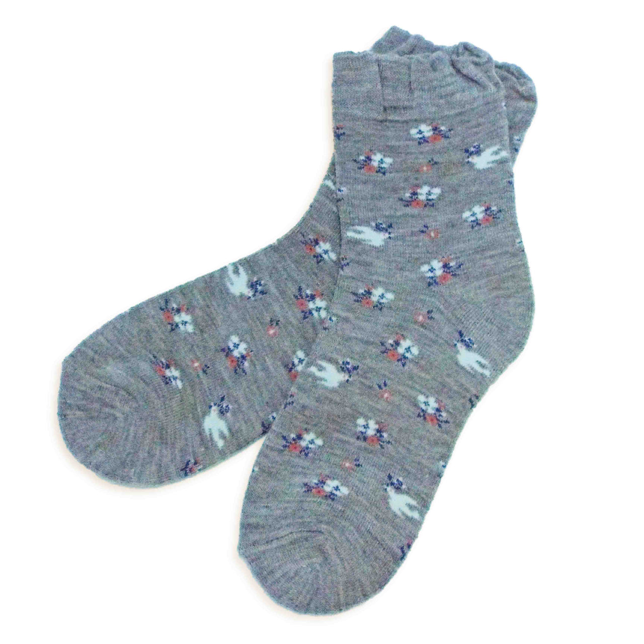 Soft Knit Crew Socks | Dove/Floral | Gray - CHERRYSTONE by MARKET TO JAPAN LLC