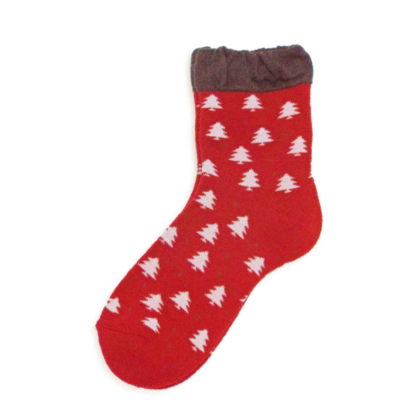 Soft Knit Crew Socks | Tree | Red