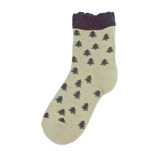 Soft Knit Crew Socks | Tree | Beige