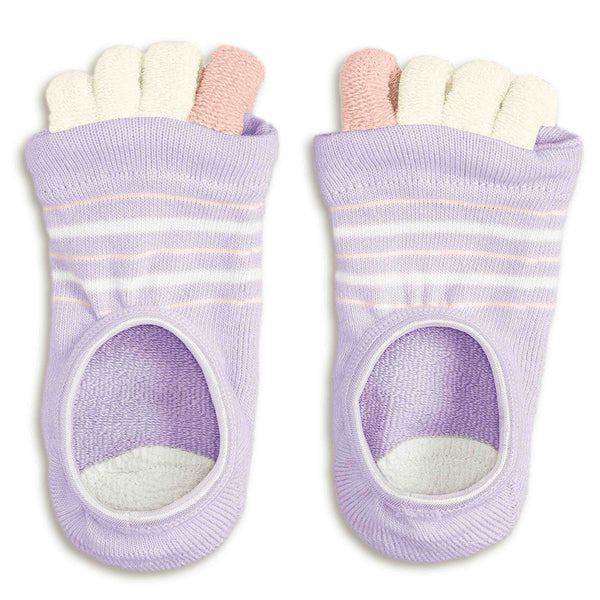 Refreshing Toe Separator Socks | Striped Pattern | Lavender - CHERRYSTONE