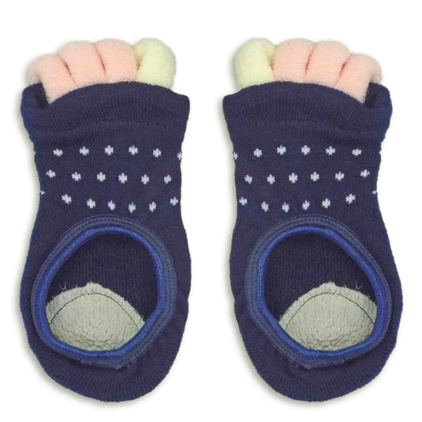Refreshing Toe Separator Socks | Dot Pattern | Navy - CHERRYSTONE by MARKET TO JAPAN LLC