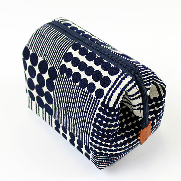 Zippered Cosmetic Pouch | Traditional Japanese Beads | Navy - CHERRYSTONE