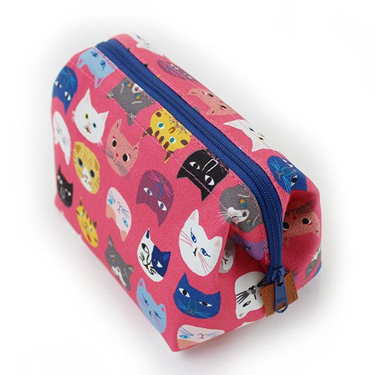 Zippered Cosmetic Pouch | Cat Lovers | Pink - CHERRYSTONE