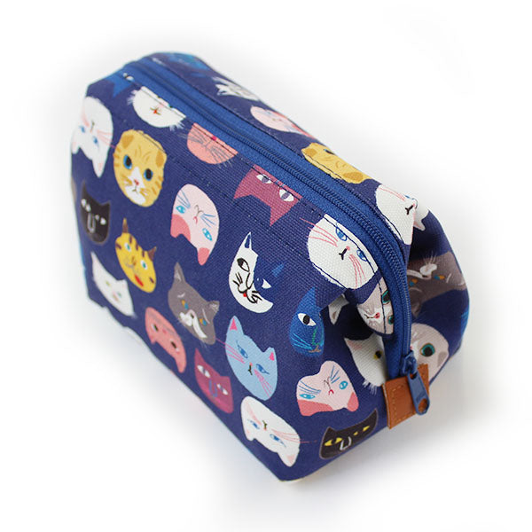 Zippered Cosmetic Pouch | Cat Lovers | Blue - CHERRYSTONE