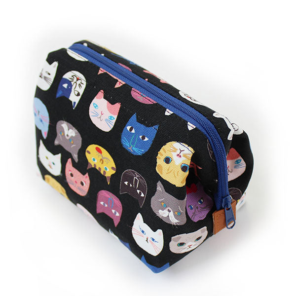 Zippered Cosmetic Pouch | Cat Lovers | Black - CHERRYSTONE