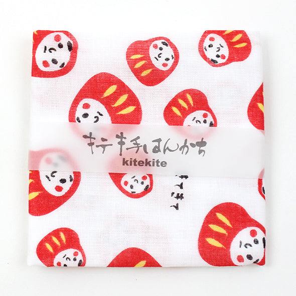 Japanese 100% Cotton Mini Towel for Daily Use and Gift Item | Daruma Doll - CHERRYSTONE by MARKET TO JAPAN LLC