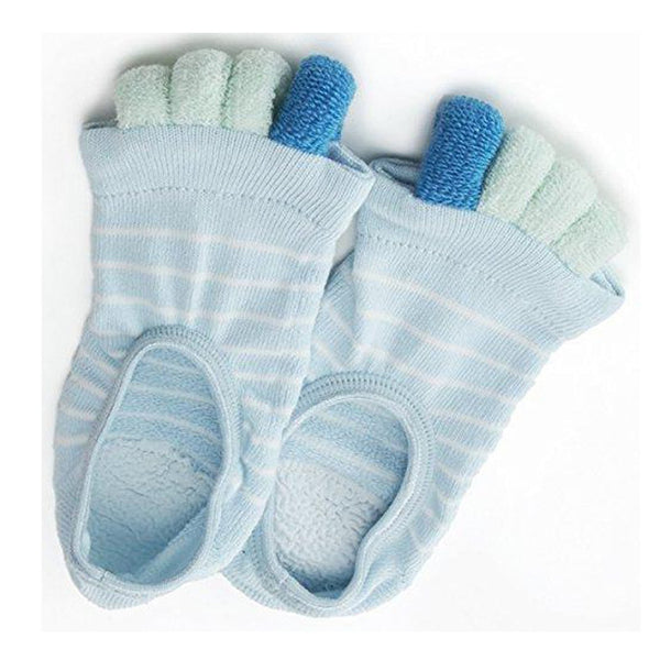 Refreshing Toe Separator Socks | Striped Pattern | Light Blue - CHERRYSTONE