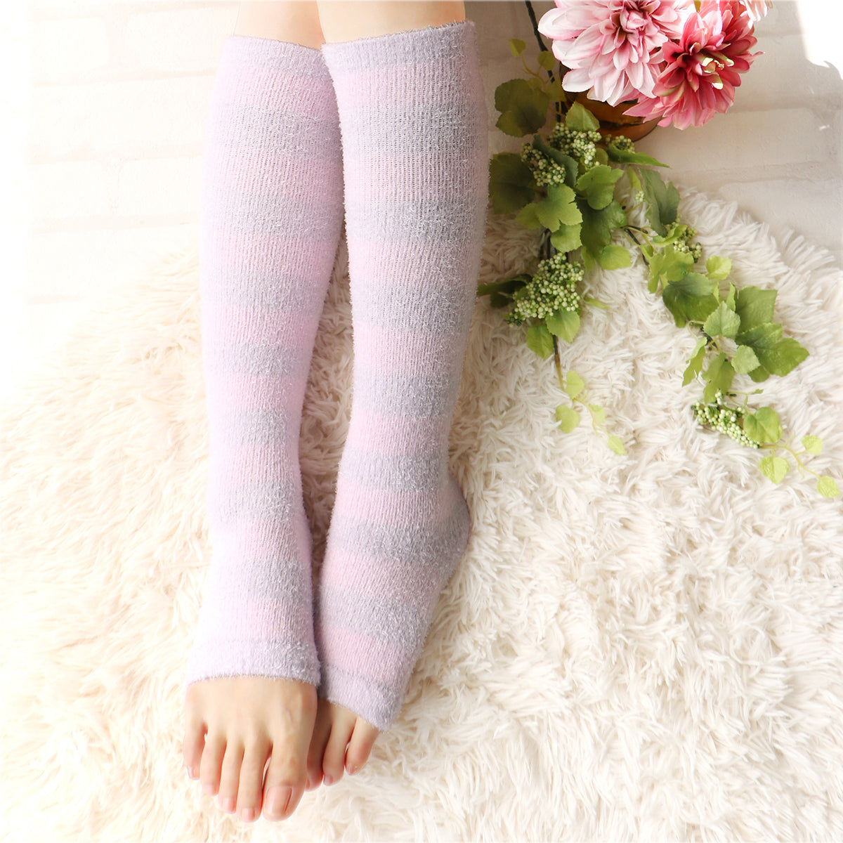Refreshing Toeless Compression Socks | Knee-high | Lavender - CHERRYSTONE