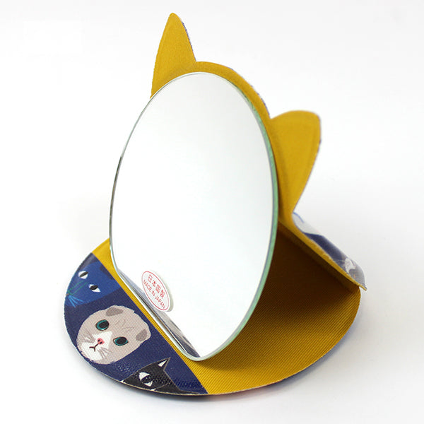 Cat Shaped Compact Mirror | Medium | Cat Expo | Blue - CHERRYSTONE