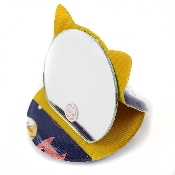 Cat Shaped Compact Mirror | Small | Cat Expo | Blue - CHERRYSTONE