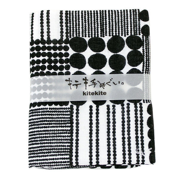 Japanese Tenugui 100% Cotton Towel | Traditional Japanese Beads | Black - CHERRYSTONE