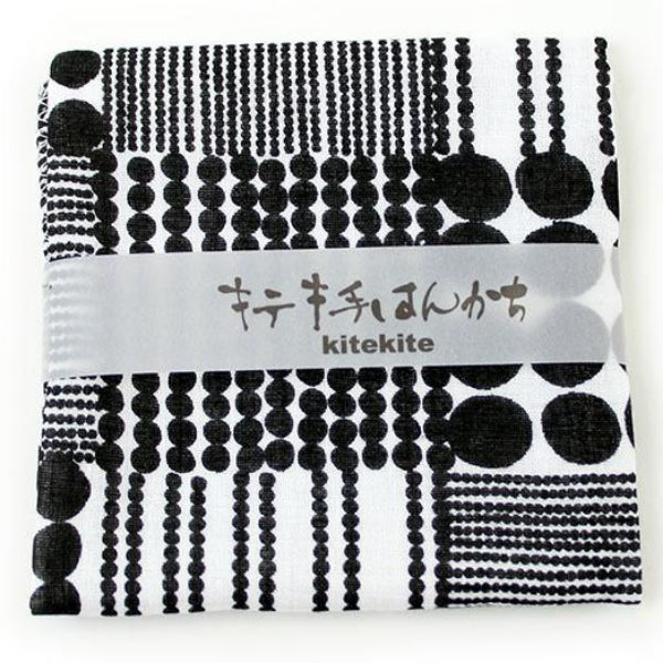 100% Lightweight Cotton Handkerchief | Traditional Japanese Beads | Black - CHERRYSTONE