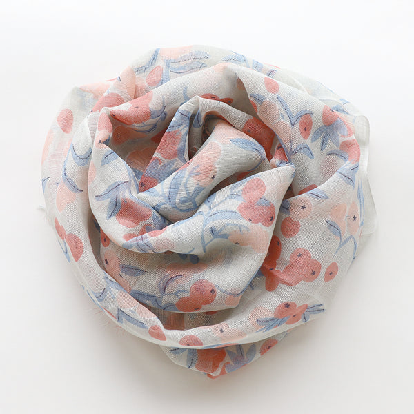 Makumono Linen Scarf | Pink and Blue Berries - CHERRYSTONE