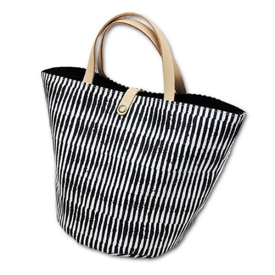 Bucket Tote Bag | Shimmering Stripes | Black - CHERRYSTONE