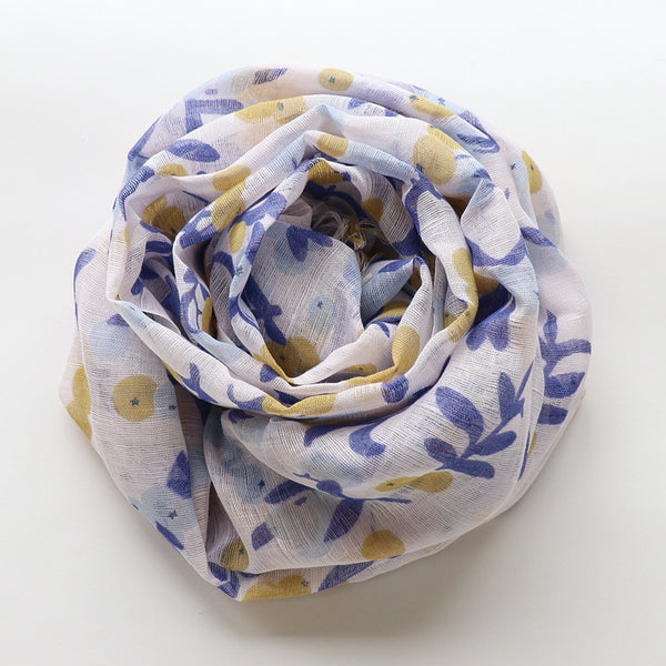 Makumono Linen Scarf | Blue and Yellow Berries - CHERRYSTONE