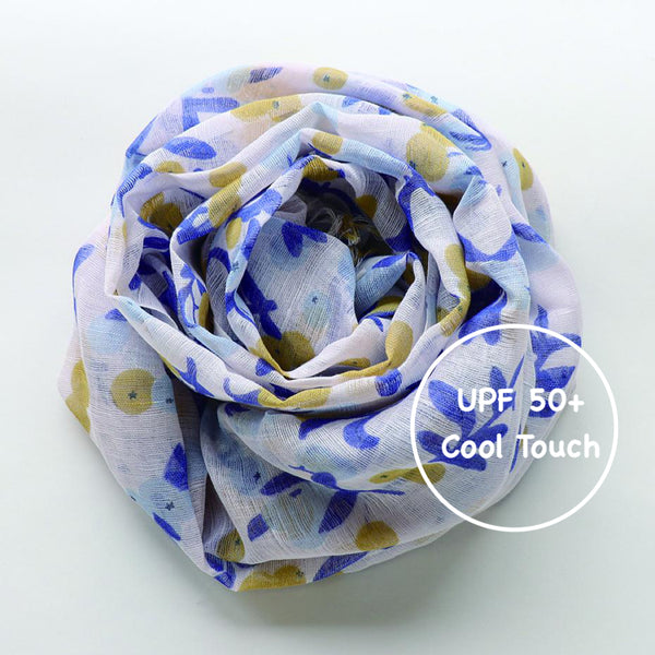 Makumono Linen Scarf | Blue and Yellow Berries - CHERRYSTONE by MARKET TO JAPAN LLC