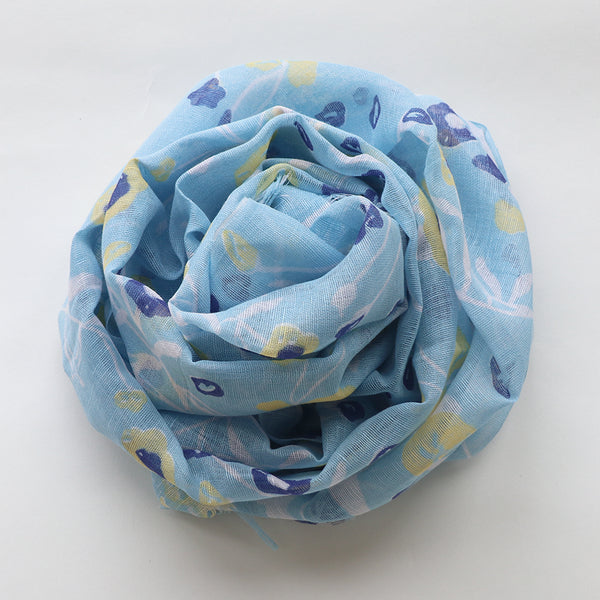 Makumono Linen Scarf | Blue Summer Floral - CHERRYSTONE by MARKET TO JAPAN LLC