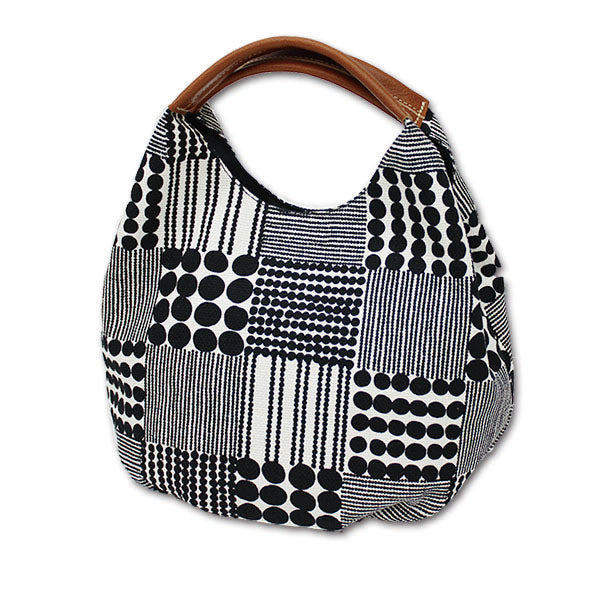 Medium Short Handled Tote Bag | Traditional Japanese Beads | Black - CHERRYSTONE