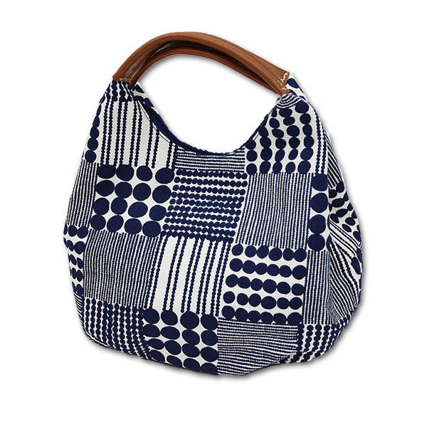 Medium Short Handled Tote Bag | Traditional Japanese Beads | Navy - CHERRYSTONE