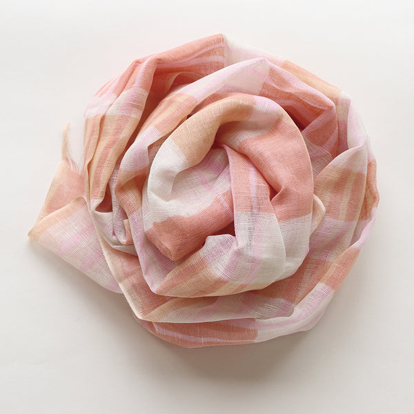Makumono Linen Scarf | Pink Stripes - CHERRYSTONE by MARKET TO JAPAN LLC