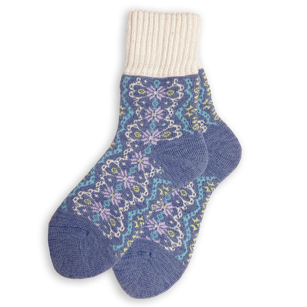 Wool Blend Plush Warm Boot Socks NO GRIPS | Nordic | Frosty Blue - CHERRYSTONE