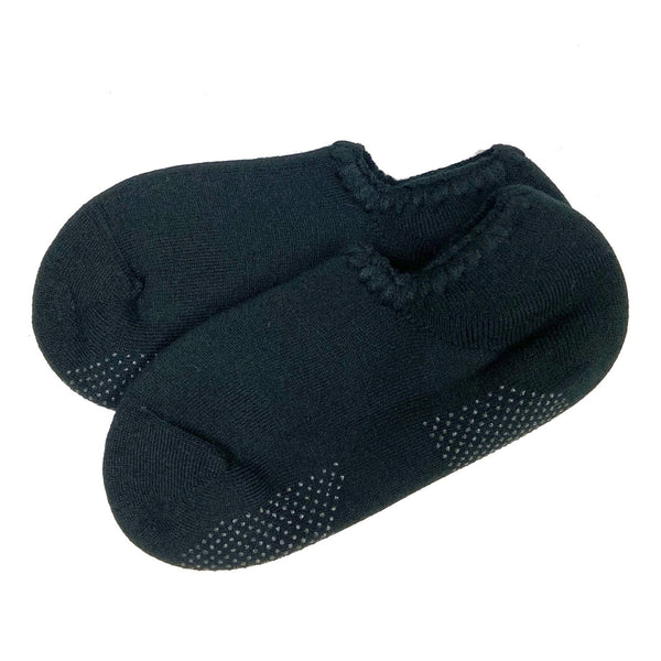 CHERRYSTONE® Slipper Socks | Classic Color with Grips | Black-Black - CHERRYSTONE