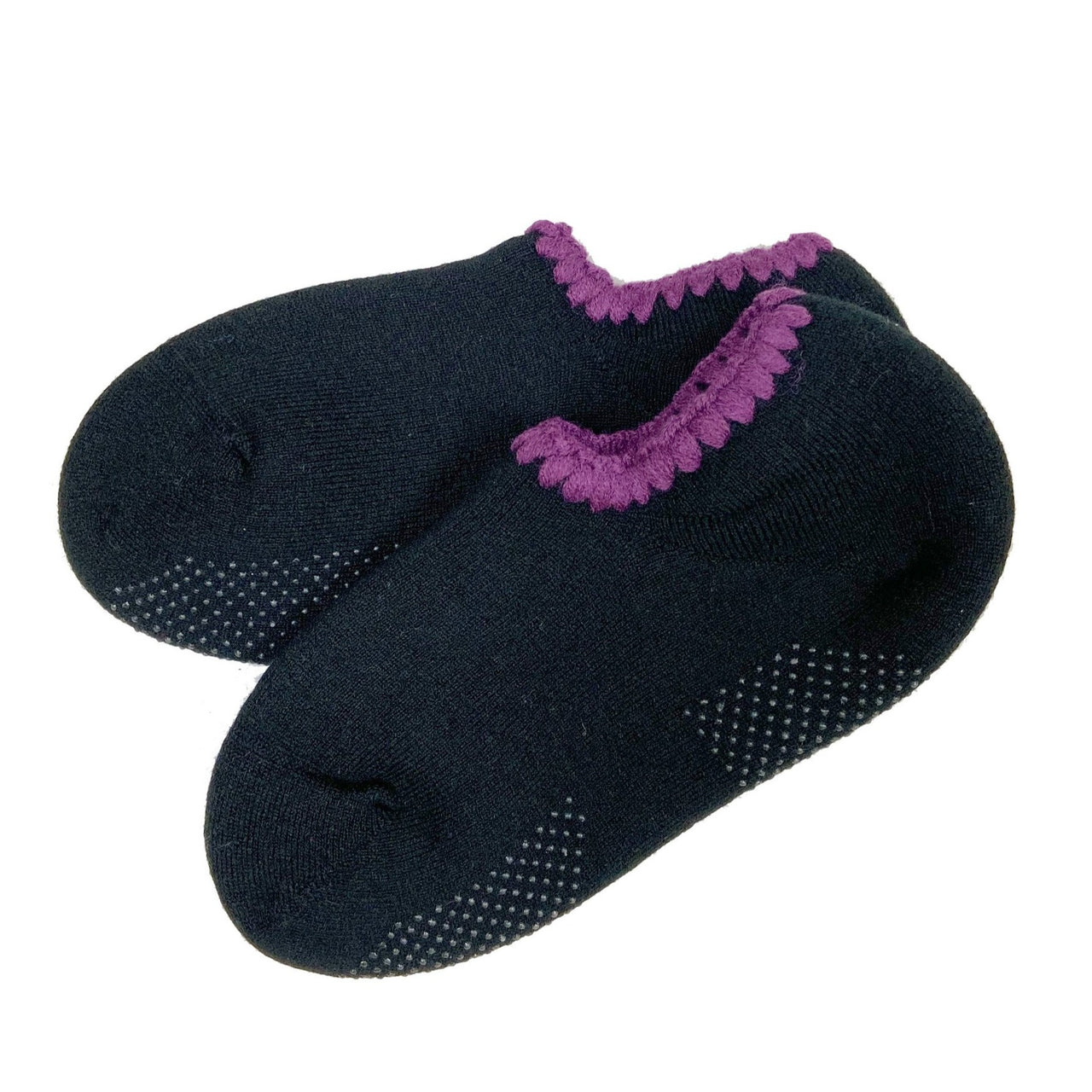 CHERRYSTONE® Slipper Socks | Classic Color with Grips | Black-Purple - CHERRYSTONE