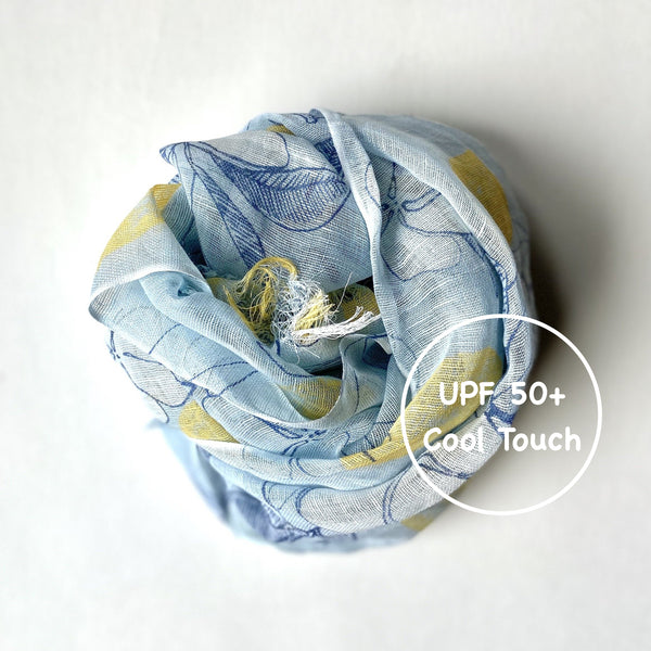 Makumono Linen Scarf | Light Blue and Lemon - CHERRYSTONE by MARKET TO JAPAN LLC
