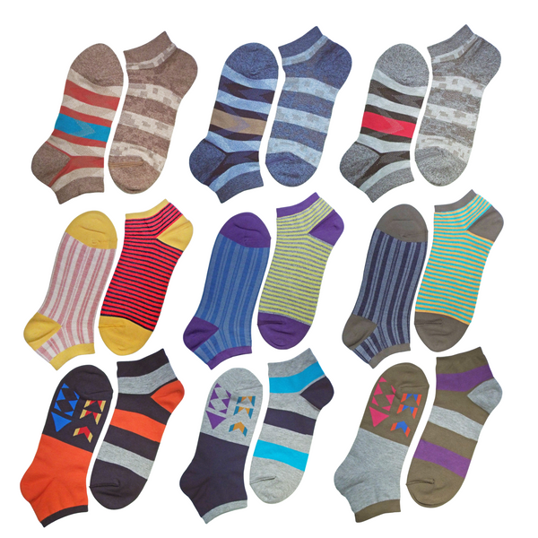 *CRAZY SPECIAL Deal!* 9 PAIRS! 2 in 1 Everyday Reversible Socks | Ankle Socks | Patterns Vary - CHERRYSTONE by MARKET TO JAPAN LLC
