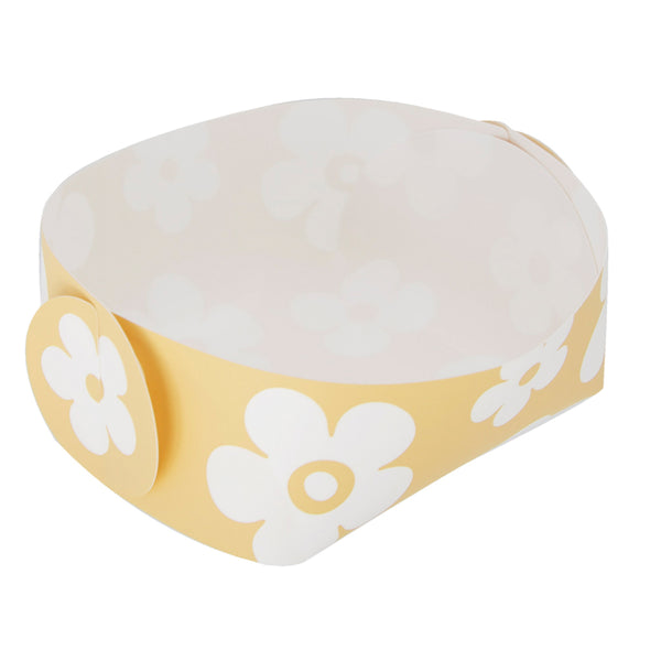 Reusable Foldable Snack Tray (2PK) | Small | Yellow Flower Pattern - CHERRYSTONE by MARKET TO JAPAN LLC