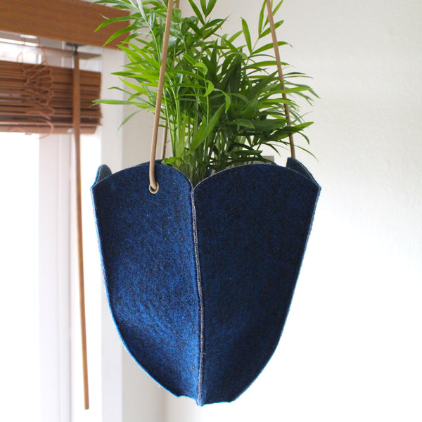 CHERRYSTONE® Upcycled Fabric Indoor Potted Plant Cover | Hanging | Hexagon Medium | Navy - CHERRYSTONE by MARKET TO JAPAN LLC