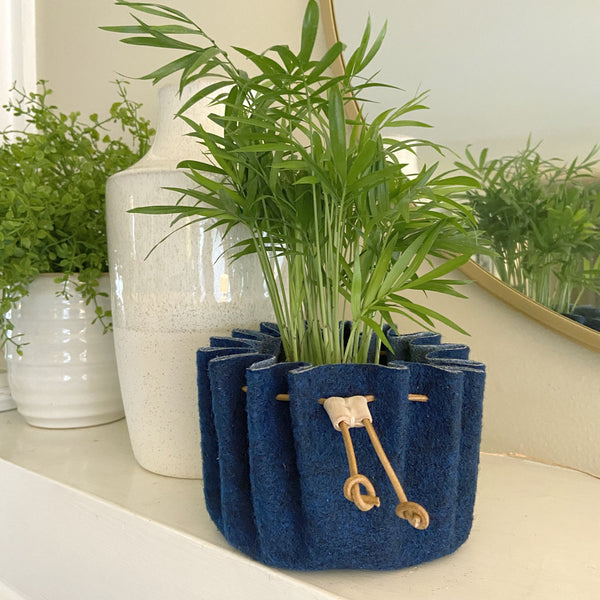 CHERRYSTONE® Upcycled Fabric Indoor Potted Plant Cover with Drawstring | Medium | Navy - CHERRYSTONE by MARKET TO JAPAN LLC