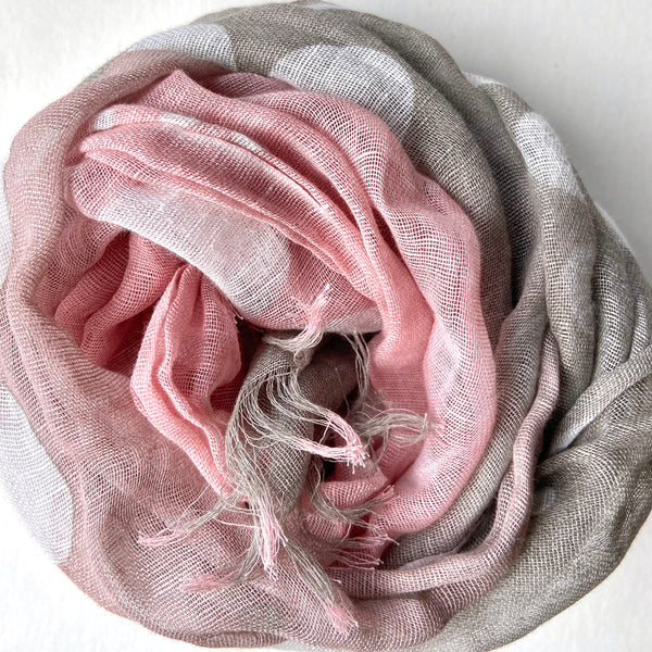 Makumono Linen Scarf |  Taupe and Dusty Rose Dots - CHERRYSTONE