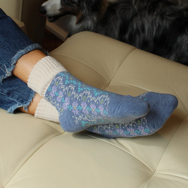 Wool Blend Plush Warm Boot Socks NO GRIPS | Nordic | Frosty Blue - CHERRYSTONE by MARKET TO JAPAN LLC
