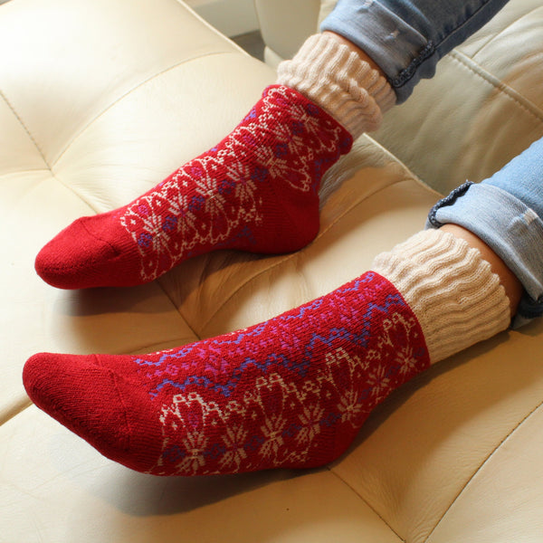 Wool Blend Plush Warm Boot Socks NO GRIPS | Nordic | Berry - CHERRYSTONE by MARKET TO JAPAN LLC