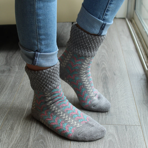Wool Blend Plush Warm Boot Socks NO GRIPS | Herringbone | Gray - CHERRYSTONE