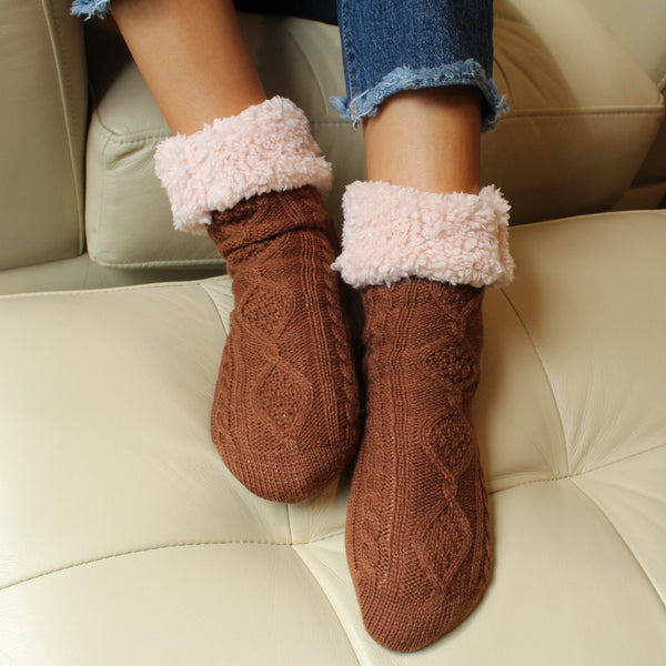 Plush Warm Crew Sock With Sherpa Boa Lining | Cable Knit | With Grips | Brown - CHERRYSTONE by MARKET TO JAPAN LLC