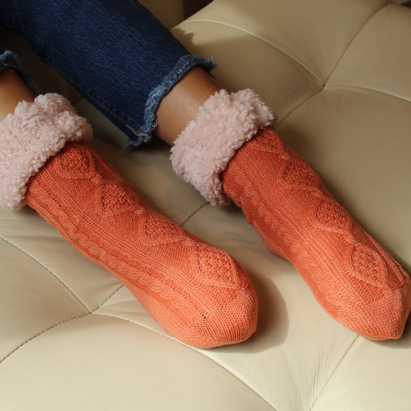 Plush Warm Crew Sock With Sherpa Boa Lining Lining | Cable Knit | With Grips | Orange - CHERRYSTONE