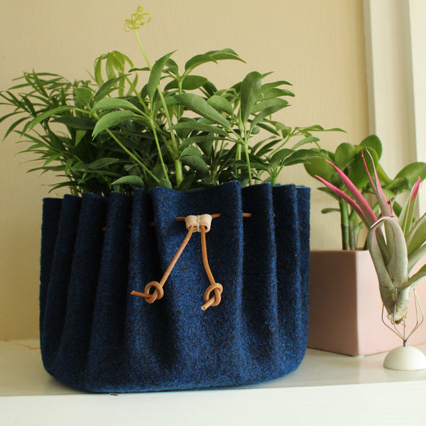 CHERRYSTONE® Upcycled Fabric Indoor Potted Plant Cover with Drawstring | Pollin | Large | Navy - CHERRYSTONE by MARKET TO JAPAN LLC