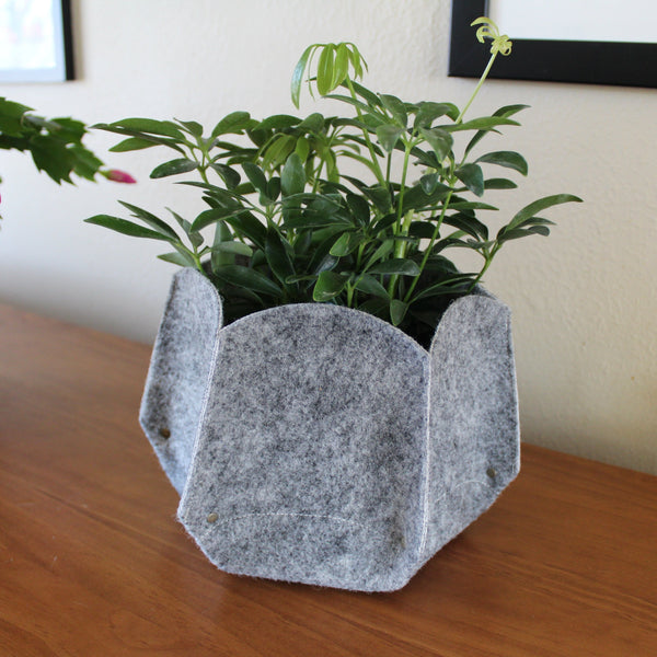 CHERRYSTONE® Upcycled Fabric Indoor Potted Plant Cover | Hexagon Pepo Medium | Gray - CHERRYSTONE by MARKET TO JAPAN LLC