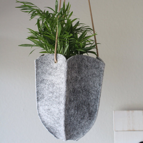 CHERRYSTONE® Upcycled Fabric Indoor Potted Plant Cover | Hanging | Hexagon Medium or Large  | Gray - CHERRYSTONE by MARKET TO JAPAN LLC