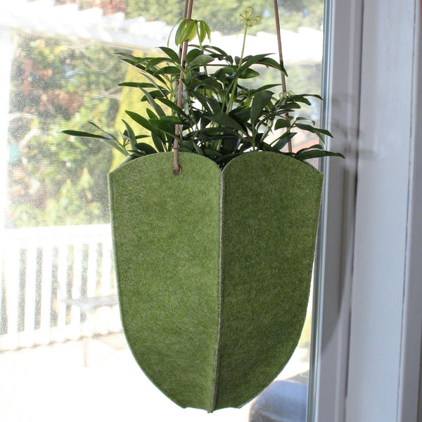 CHERRYSTONE® Upcycled Fabric Indoor Potted Plant Cover | Hanging | Hexagon Pepo Medium or Large | Green - CHERRYSTONE by MARKET TO JAPAN LLC