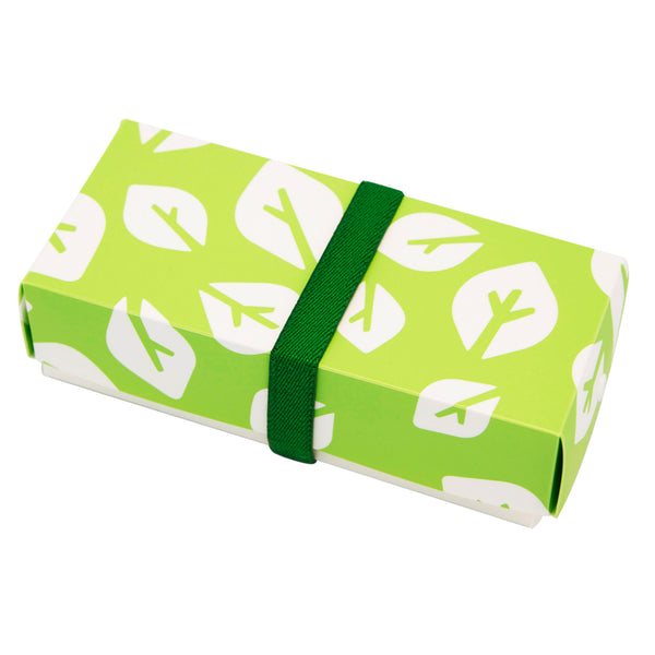 Reusable Foldable Lunch Box | Regular | Green Leaf Pattern - CHERRYSTONE by MARKET TO JAPAN LLC