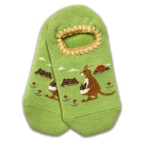 CHERRYSTONE® Slipper Socks | Animal Designs | Kangaroo Family | Lime - CHERRYSTONE by MARKET TO JAPAN LLC