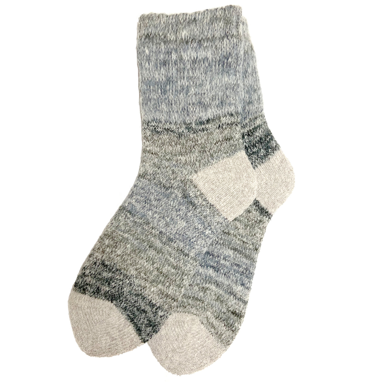 Wool Blend Gradation Crew Sock | With Grips | Size Large | Gray - CHERRYSTONE