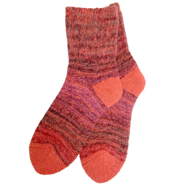 Wool Blend Gradation Crew Sock | With Grips | Unisex | Red - CHERRYSTONE by MARKET TO JAPAN LLC